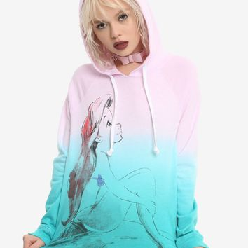 Licensed cool Disney Ariel The Little Mermaid  Dip Dye Hoodie Pink Teal Ombre Juniors XL NWT