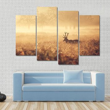 Large Red Deer Stag Silhouette In Autumn Mist Canvas