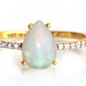 14kt Gold Opal & Diamond Angels Drop Ring