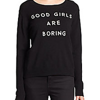 MILLY - 'Good Girls Are Boring' Cashmere Sweater - Saks Fifth Avenue Mobile