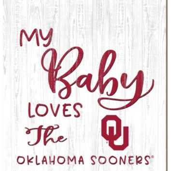 Oklahoma Sooners | My Baby Loves | Sign | Wood | Rope Hanger | NCAA