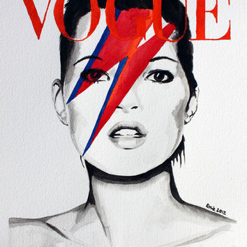 Vogue Magazine Cover. Kate Moss as David Bowie. Fashion Illustration. Art Print by Feeling Artsy