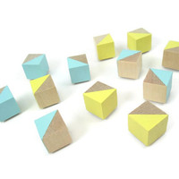 12 Yellow and Blue Pastel Wood Magnets - Decorative Magnets - Spring Magnets - Geometric Magnets - Refrigerator Magnets