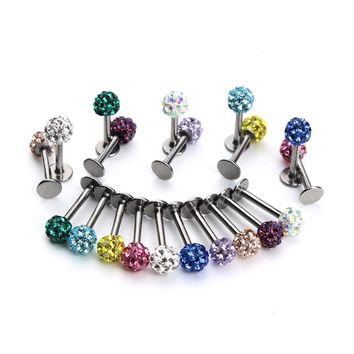 5pcs/lot Stainless Steel Piercing Jewelry Lips Piercing 4mm Micro Pave Cz Beads Ball Punk Lip Stud Bars Labret Tragus Ring