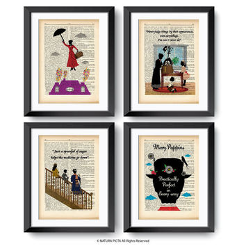 Mary Poppins set of 4 prints-Mary Poppins print-Poppins dictionary print-gift for her-nursery print-Mary Poppins decor-by NATURAPICTA-DP145