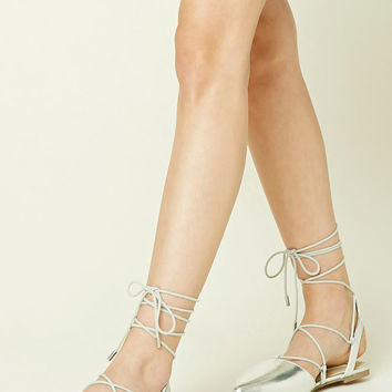 Metallic Lace-Up Flats