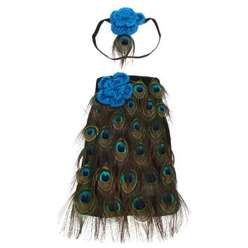 Newborn Baby Girls Crochet Knit Peacock Costume Photo Photography Prop Infant Costume Outfit Headband Baby Photography Gift