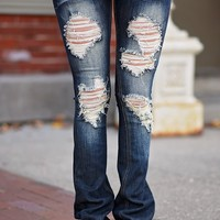 Toni Wash Dark Distressed Jeans ~ Flare
