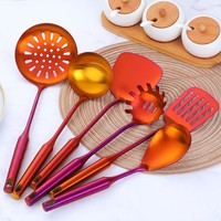 7PCS/Set Stainless Steel Rainbow Kitchen Utensils With Holder Cooking Tools Set Turner Ladle Spoon For Restaurant Dinnerware