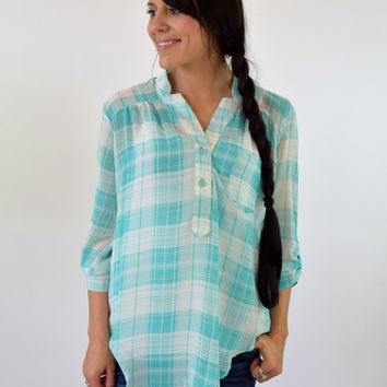 London Chiffon Plaid Blouse - Mint