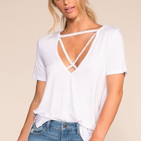 Keep On Shining Crisscross Oversize Tee - White