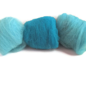 Hand Dyed Felting Wool Peacock Blue Sampler by flickertailfibers