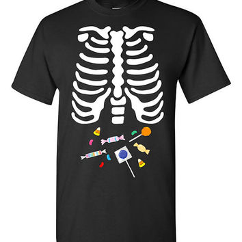 Skeleton Candy Ribcage X-Ray Halloween T-shirt Tshirt Tee Shirt Color Gift Father Pregnancy Cute Funny Couples Costume College Scary Sweet