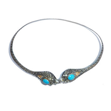 Antique Chinese Silver And Turquoise Necklace