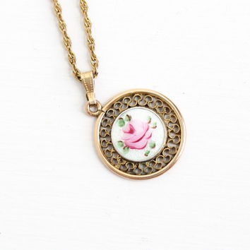 Vintage Guilloche Flower Pendant Necklace - Gold Filled Mid Century 1940s Pink White Rose Floral Charm Jewelry