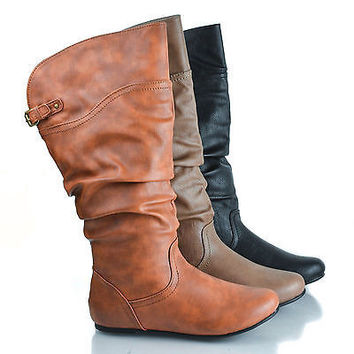 Kalisa69 Cognac Pu by Wild Diva, Round Toe Adjustable Buckle Mid Calf Slouchy Pull On Boots