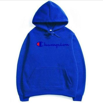 PEAPV9O Champion couple sets the head sweater couple models Plus velvet hooded sweater simple printing class service