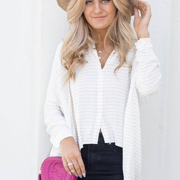 Break Out Gray Striped Button Up Top