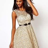 Little Mistress Belted Prom Dress in Contrast Lace at asos.com