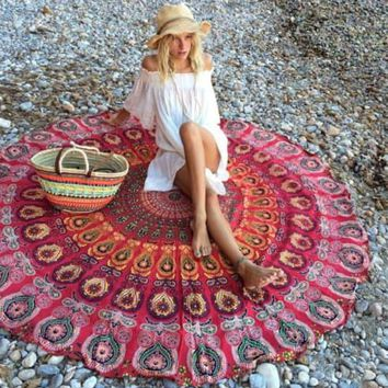 Geometric Round Beach Towel/Yoga Mat