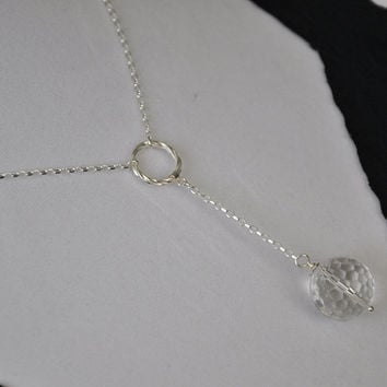 Lariat Necklace, Sterling Silver Necklace, Silver Drop Necklace, Choker, Crystal ball, Rock Crystal, Gemstone Necklace, Handcrafted