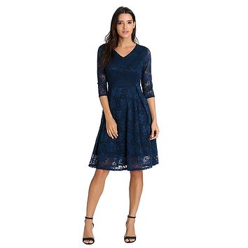 Spring Women Dresses Women Spring V Neck Casual Lace Half Sleeve Knee Length Dress Loose Party Dress