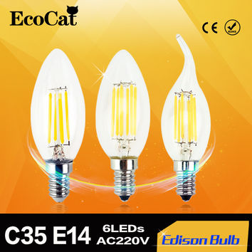 Edison LED lamp C35 E14 LED candle light Filament Retro Clear Lamp 2W 4W 6W 220V 240V Cold white Warm White for Chandelier