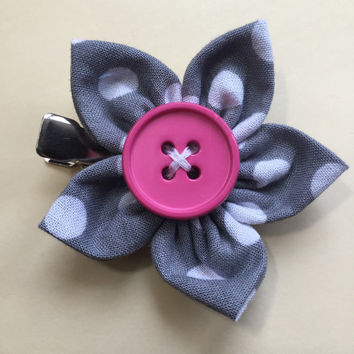 Gray Polka Dot Fabric Flower Hair Clip