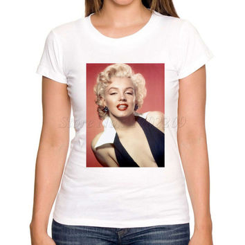 2017 Retro Design Women's Sexy Marilyn Monroe Printed T shirt Lady's Popular Casual Slim Tee Novelty Funny Tops