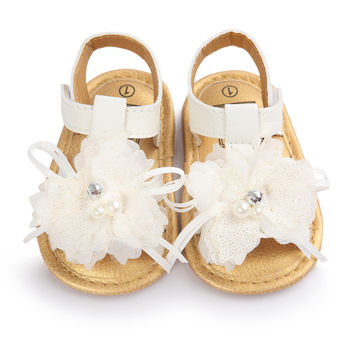 Newborn Baby First Wlaker Shoes Infant Baby Flower White Shoes 0-18M YTM NW