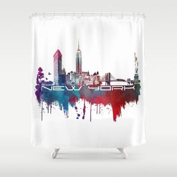 New York skyline blue Shower Curtain by Jbjart