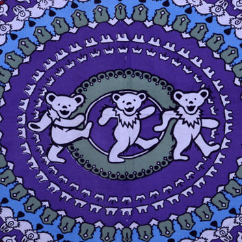 Grateful Dead Dancing Bears Tapestry , Youtchi Bear Psychedelic Tapestry , Kids Room Decor Tapestry Bed Cover , Nursery Decor Art