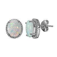 Lab-Created Opal Sterling Silver Oval Halo Stud Earrings (White)