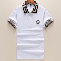 Versace new men's trend lapel polo shirt short-sleeved T-shirt F-A00FS-GJ White