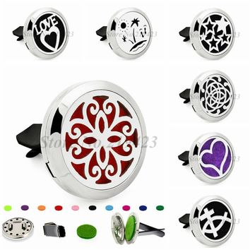 Love Heart Fish Cross Stars 30mm Magnet Stainless Steel Aromatherapy Perfume Car Diffuser Locket Removable Vent Clip 10pcs Pads