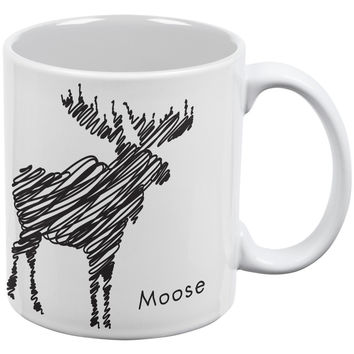 Moose Scribble Drawing White All Over Coffee Mug