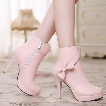 New Women Pink Round Toe Stiletto Bow Zipper Sweet Ankle Boots