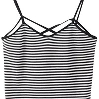 Striped Cross Strap Cropped Top