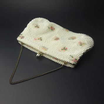 1950s Floral Embroidered And White Beaded Purse Clutch / Evening Bag