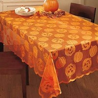 """Lace Pumpkin 70"""" Round Tablecloth Fall Harvest Kitchen Dining Room Table Decor"""