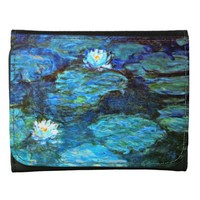 Water Lilies-Blue, Monet painting Wallet