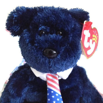 Ty Beanie Baby Blue Bear Patriotic Tie Plush toy