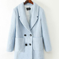 Notched Collar Long Sleeve with front Pocket and Double Buttoned Woolen Coat