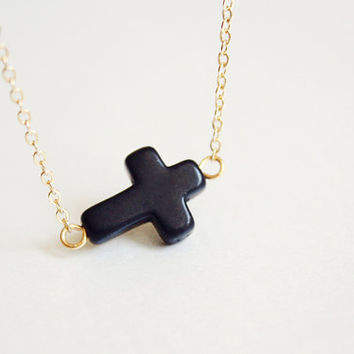 sideways cross necklace - black and gold