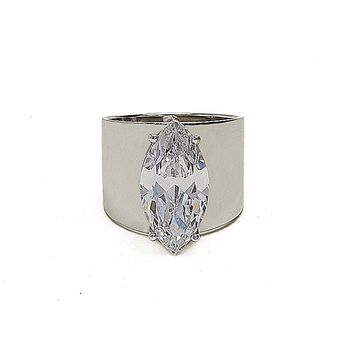 Cigar Band CZ Ring