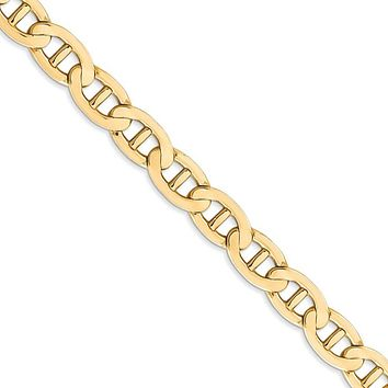 Men's 7mm, 14k Yellow Gold, Concave Anchor Chain Necklace