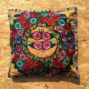 Green Mexico cushion - pillow handmade Mayan Cushion cover home décor Guatemala floral red yellow green and gold.