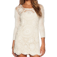 Spell & The Gypsy Collective Havana Crochet Mini Dress in Cream
