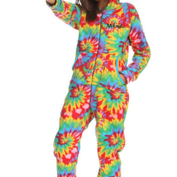 Adult Tie Dye Hooded Footed Pajamas - Snug As A Bug