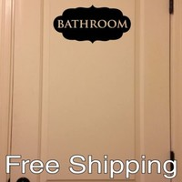 BATHROOM - wall vinyl sticker inspirational art home ornate decor FREE SHIPPING!